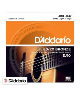 D'Addario EJ10 Extra Light 80/20 Bronze 10/47