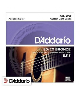 D'Addario EJ13 Custom Light 80/20 Bronze 11/52