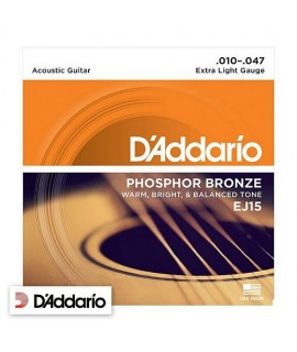 D'Addario EJ15 Extra Light Phosphor Bronze 10/47