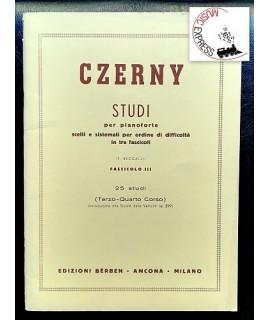Czerny - Studi per Pianoforte Fascicolo III - 25 Studi - Terzo-Quarto Corso
