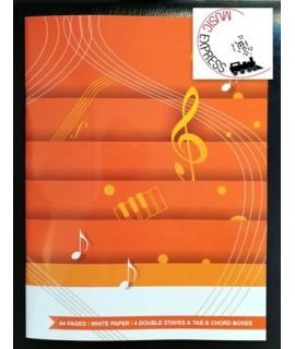 Quaderno di Musica - 4 Pentagrammi Doppi e Tablature per Chitarra
