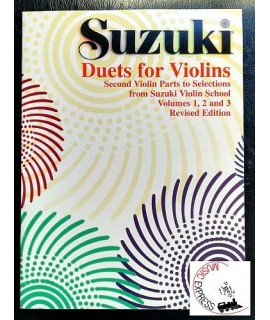 Suzuki Duets For Violins Volume 1, 2 and 3 - Second Violin Parts - Revised Edition