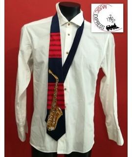 Cravatta Musicale con Sax e Spartito