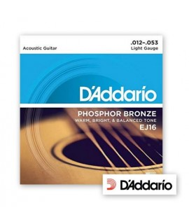 D'Addario EJ16 Phosphor Bronze Light Gauge 12/53