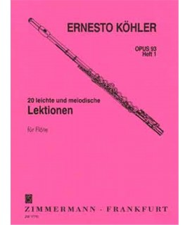 Kohler- 20 leichte und melodische fur flote - opus 93 heft 1